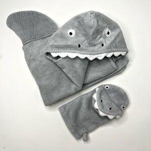 Pottery Barn Baby Shark Hooded Towel & Washcloth